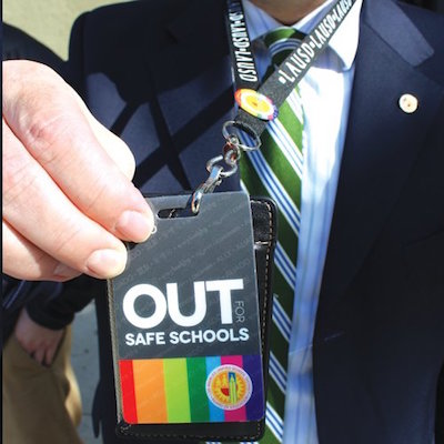 Badges available to teachers interested in signaling that they are allies on LGBT issues. Photo courtesy of the NYC DOE.