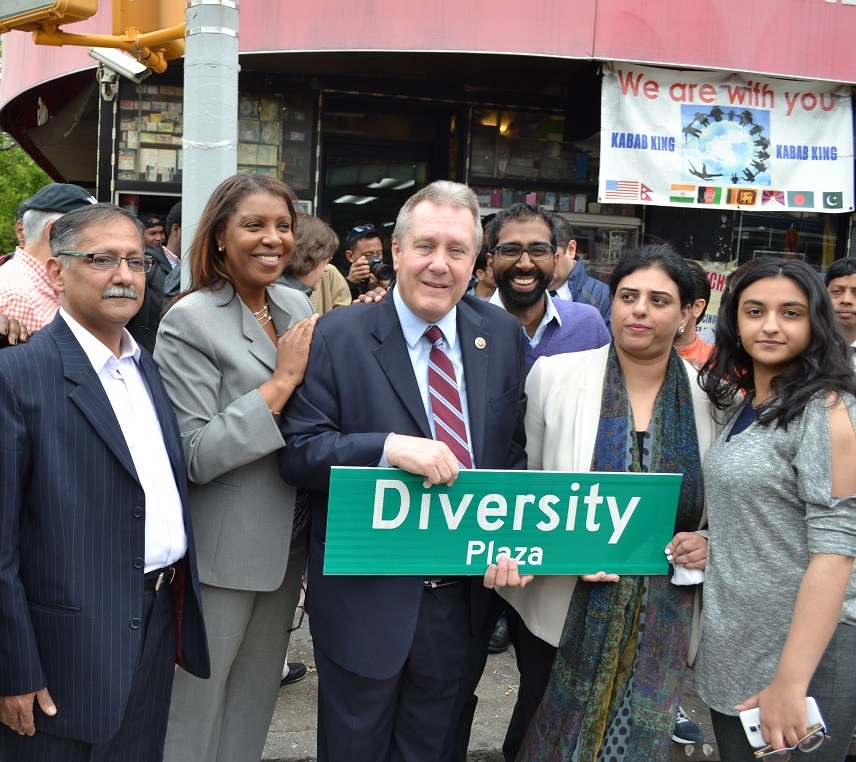 Councilman Daniel Dromm celebrates the official co-naming of Diversity Plaza with Public Advocate Letitia James and civic leaders.