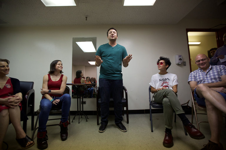 "At a gathering with the cast of ""Fun Home,"" which won the Tony for best musical, Samuel Nathanson, a volunteer with Pflag NYC, tells his story of coming out as transgender to his mother. Credit Benjamin Norman for The New York Times"