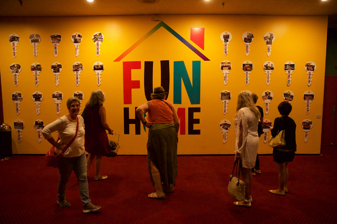 """Fun Home,"" adapted from the memoir by Alison Bechdel, follows a woman as she learns that both she and her father are gay. Credit Benjamin Norman for The New York Times"